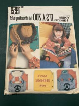1980s Vogue 1959 511 Pattern to make a Childs Zoo Book w App